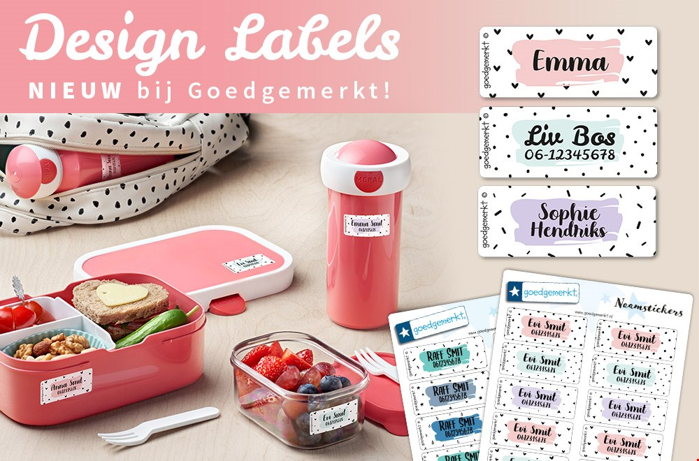 WIN een set Design Naamstickers of Kledinglabels van Goedgemerkt (6x)